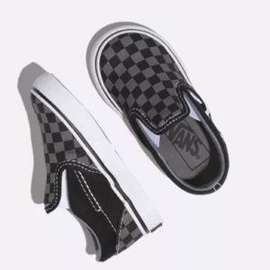 VANS Checkerboard Slip-On Sneakers in Black/Pewter